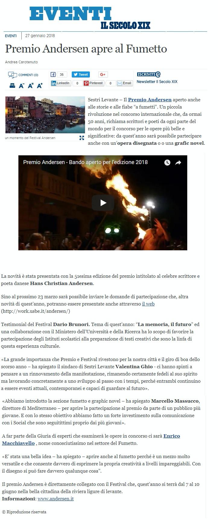 SECOLO XIX EVENTI 27 GENNAIO 2018