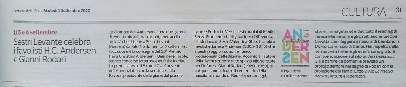 Corriere della Sera – martedì 1 settembre 2020
